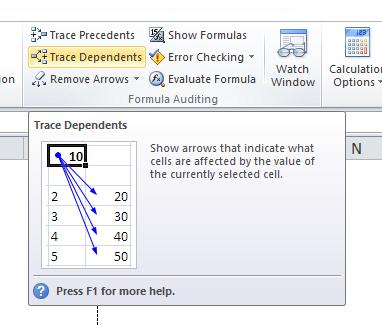 Formulas, Trace Dependents
